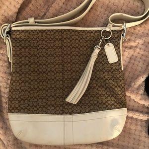 Coach bag white and brown logo